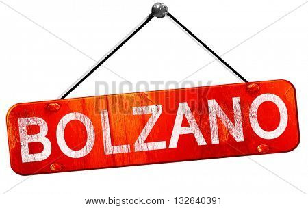 Bolzano, 3D rendering, a red hanging sign