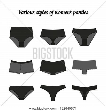 Various styles of women black panties isolated on white background. Vector.