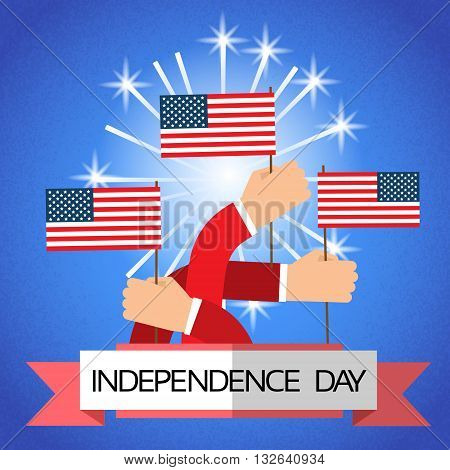 Hand Group Hold United States Flag Independence Day Banner Vector Illustration
