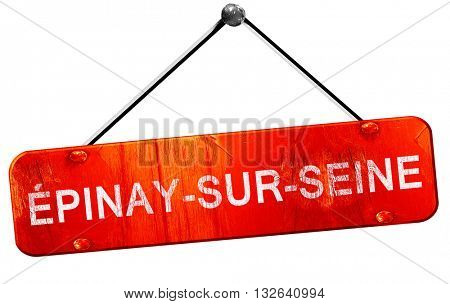 Epinay-sur-seine, 3D rendering, a red hanging sign