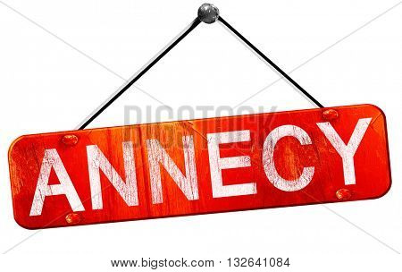 annecy, 3D rendering, a red hanging sign