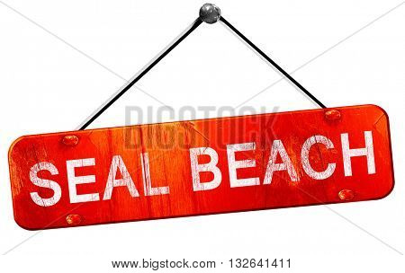 seal beach, 3D rendering, a red hanging sign