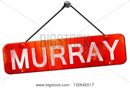 murray, 3D rendering, a red hanging sign