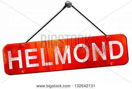 Helmond, 3D rendering, a red hanging sign