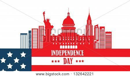Happy Independence Day United States American Famous Building Symbol Vector Illustration