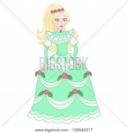 Illustration of beautiful blonde princess, cute princess in elegant green dress with flowers, vector illustration
