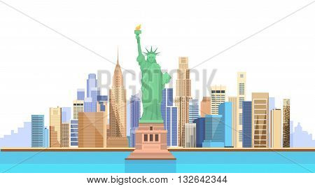 Liberty Statue United States New York City View Vector Illustration