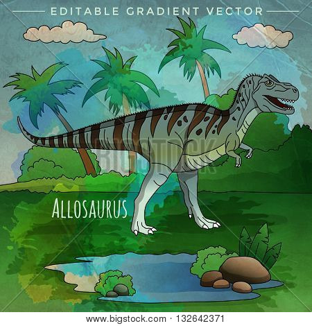 Allosaurus. Vector illustration of a dinosaur in its habitat.