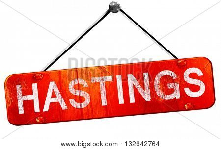 hastings, 3D rendering, a red hanging sign