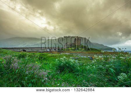 Eilean Donan Castle Dornie  Highlands Scotland and rain clouds