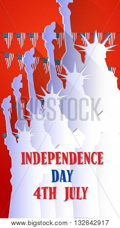 Liberty Statue Happy Independence Day United States American Holiday Vector Illustration