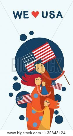 Family Embrace United States Of America Independence Day Vector Illustration