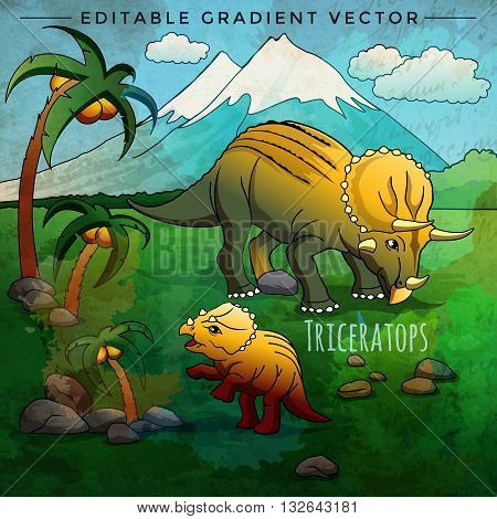 Triceratops. Vector illustration of a dinosaur in its habitat.