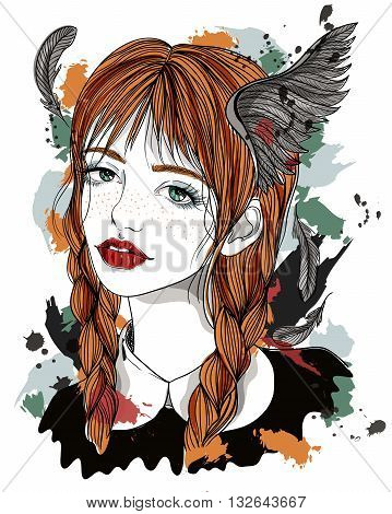 Portrait of beautiful girl with feathers in her hair. Red-haired girl with wings. Fashion illustration on abstract background. Print for T-shirt