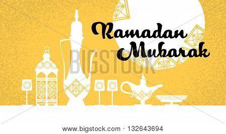 Ramadan Mubarak Teapot Yellow Background Vector Illustration