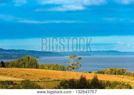 Landscape at Chiloe Island,  Chilean Lake district, Chile