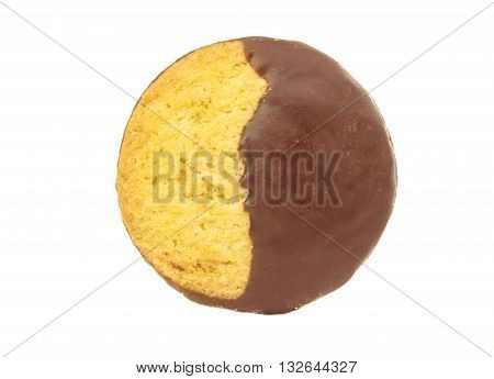Chocolate covered biscuit - isolated on white