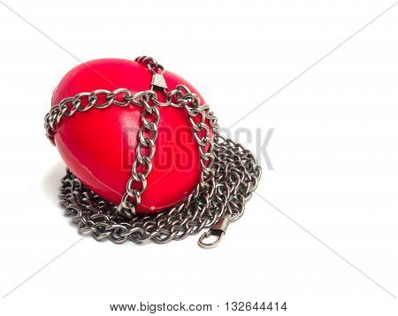 Red Heart Locked With Chain. Love Concept. Red Heart Locked On Padlock. Love Locked Heart Shape With