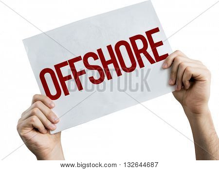 Offshore placard isolated on white background