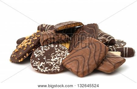 chocolate biscuits isolated on a white background