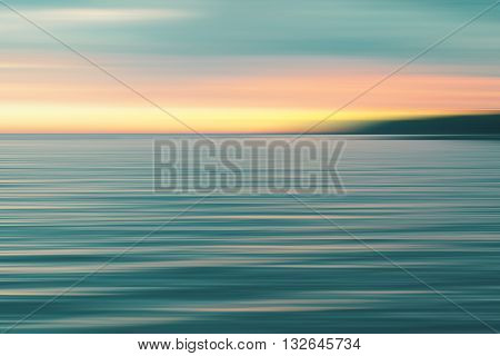 Colorful Sunset Over Sea. Blurred Background