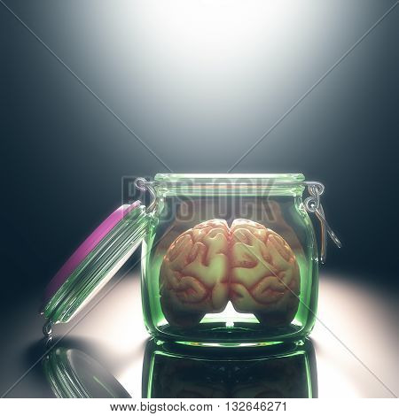 3D illustration. Brain in the pot with the lid open. Open and free mind concept. Your text on the light. Clipping path included.