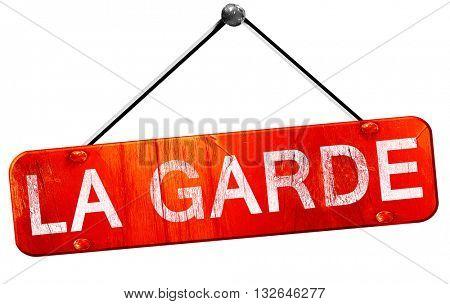 la garde, 3D rendering, a red hanging sign