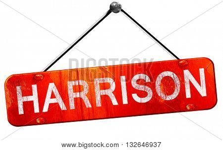 harrison, 3D rendering, a red hanging sign