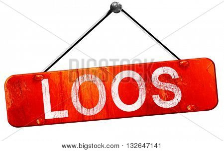 loos, 3D rendering, a red hanging sign