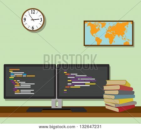 double monitor with code program programming on top of the desk vector graphic illustration