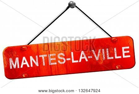mantes-la-ville, 3D rendering, a red hanging sign