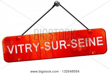 vitry-sur-seine, 3D rendering, a red hanging sign