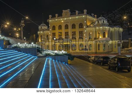Illuminated old Philharmonic Hall in Kiev (Ukraine). Scene in winter.
