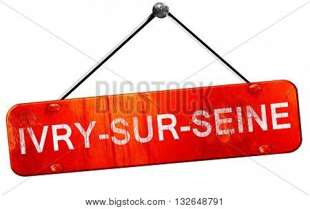 ivry-sur-seine, 3D rendering, a red hanging sign