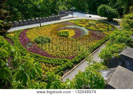 Beautiful flowered bed on terrace in Lillafured park.