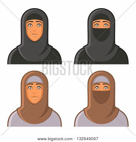 Muslim Woman in Hijab Avatars Set. Vector illustration