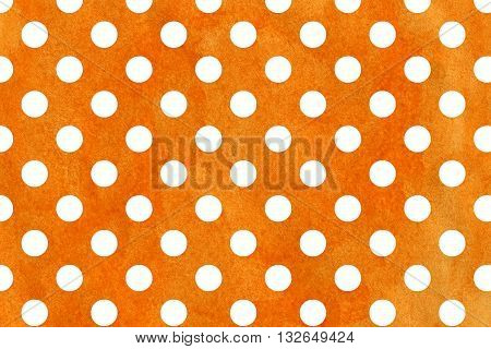White Dots On Orange Watercolor Background.