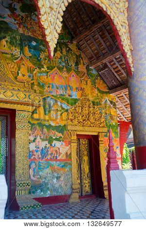 Fragment Of Wall Painting.buddhist Temple With Gold.luang Prabang.laos.