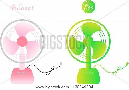 Sweet pink & eco green colored electric fan for hot summer.