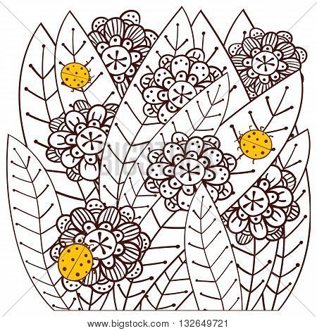 Whimsical Garden With Ladybugs Adult Coloring Book Page. Vector Illustration.