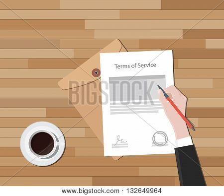 tos terms of service hand sign a paper document and glass of coffee vector graphic illustration