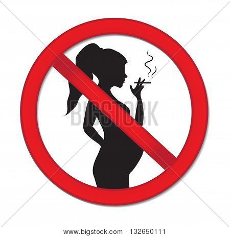 Pregnancy no smoking. Red prohibition sign-pregnant woman with a cigarette. Warning sign for no smoking during pregnancy