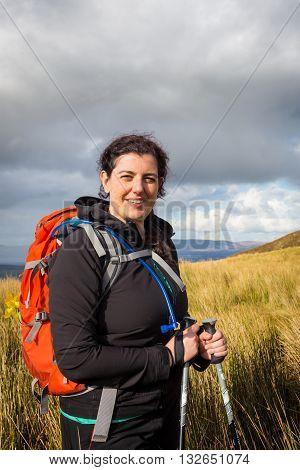 Beautiful Hiker Posing At The Foot Of Carrauntoohil