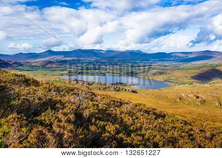 View Of Lough Acoose In Ballycullane From The Foothill Of Macgillycuddy's Reeks