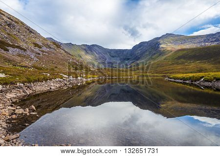 Reflection Of Macgillycuddy's Reeks And Carrauntoohil In Lough Eagher