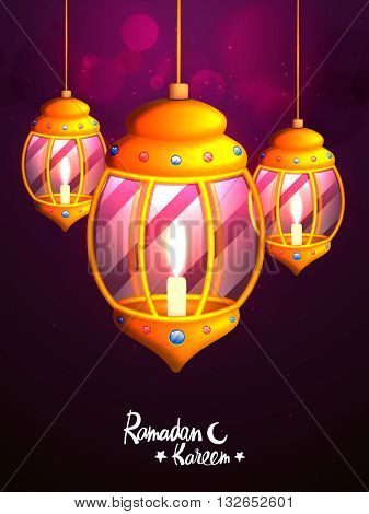 Glowing elegant Traditional Lanterns with illuminated candles on sparkling purple background for Holy Month of Muslim Community, Ramadan Kareem Celebration.
