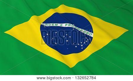 Brazilian Flag HD Background - Flag of Brazil 3D Illustration