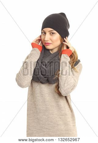 Young Beautiful Girl With Scarf  Isolated