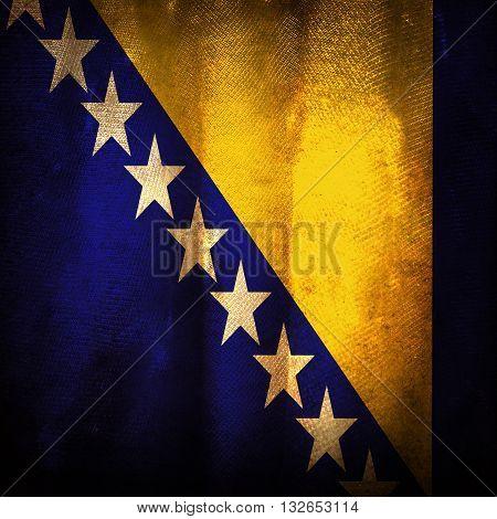 Old grunge flag of Bosnia and herzegovina