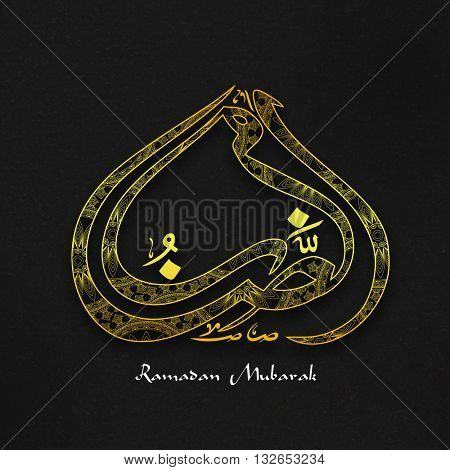 Glossy golden Arabic Calligraphy text Ramazan on grunge pattern for Holy Month of Muslim Community Festival Celebration.